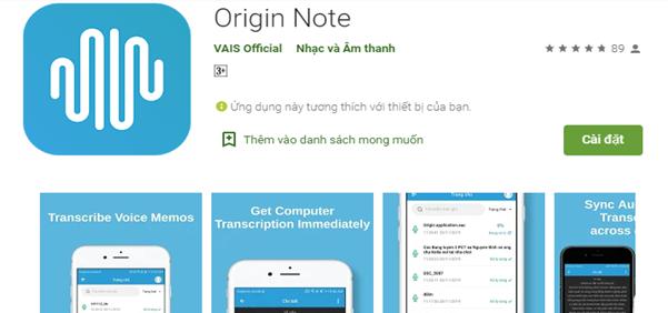 Origin Note đã xuất hiện trên Google Play và App Store